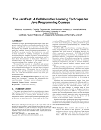 The JavaFest: A Collaborative Learning Technique for Java Programming Courses